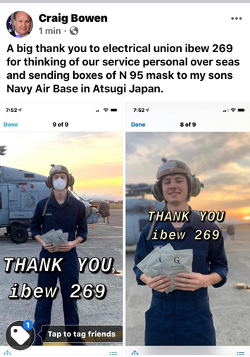 Image of Navy with N95 masks thank you.